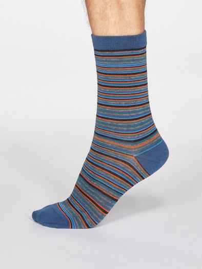 Thought Men's Jacob Striped Socks - Denim Blue