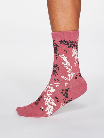 Thought Orpha Socks - Dark Rose Pink