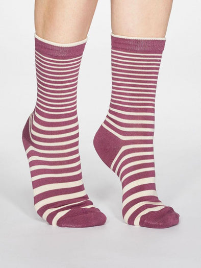 Thought Jacinda Striped Socks - Mauve Pink
