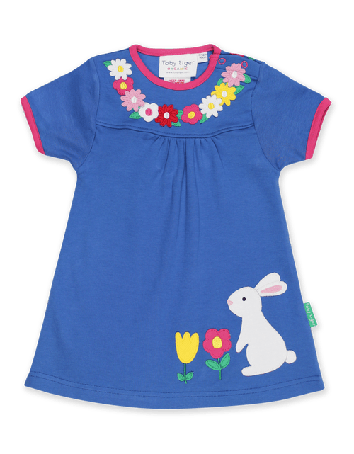 Toby Tiger Blue Easter Rabbit Short Sleeved Dress