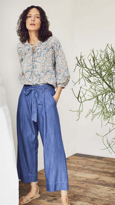 Thought Esther Tie Waist Culottes Chambray Blue