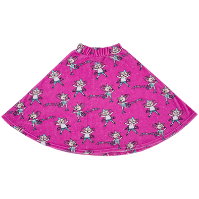 Raspberry Republic Flying Kitty Pink Velour Midi Skirt