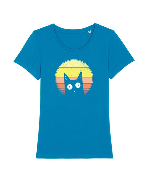Wat? Apparel Women's Sunset Cat T-Shirt Azur