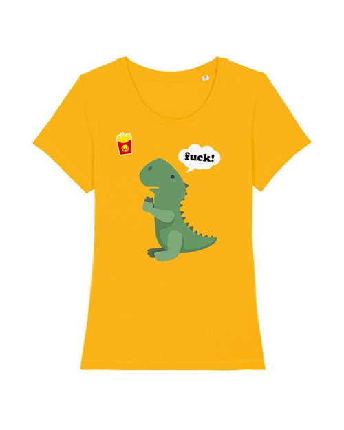 Wat? Apparel Women's T-Rex with Chips T- Shirt Yellow