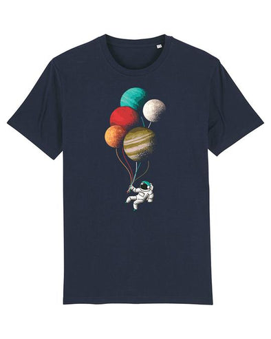 Wat? Apparel Men's Balloon Astronaut T-Shirt French Navy