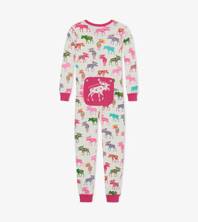 Hatley Little Blue House Patterned Moose Union Suit