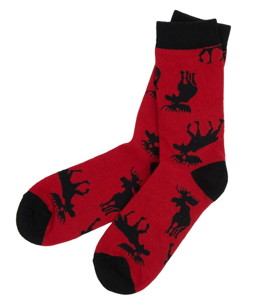 Hatley Little Blue House Moose On Red Women's Socks