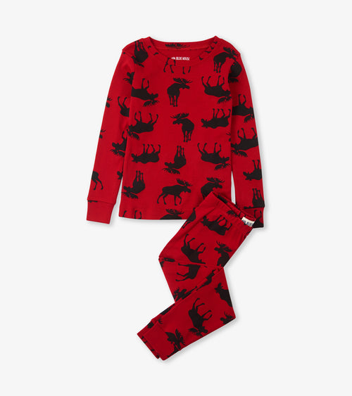 Hatley Little Blue House Moose on Red Pyjamas