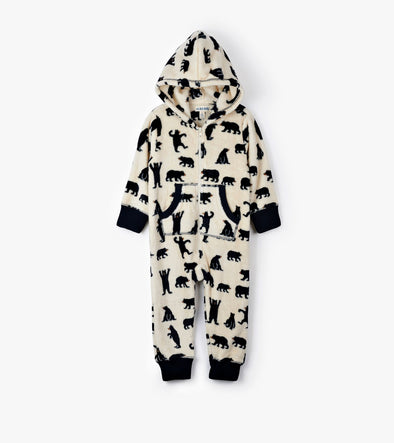 Hatley Little Blue House Black Bears Kids' Fleece Jumpsuit