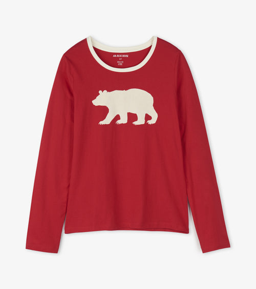 Hatley Little Blue House Fair Isle Bear Women's Long Sleeve Top