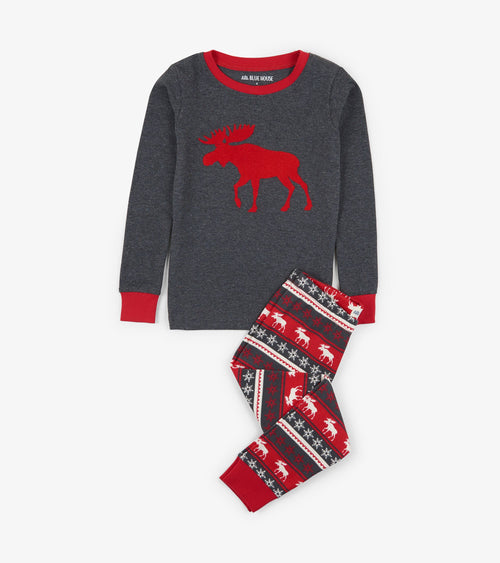 Hatley Little Blue House Fair Isle Moose Pyjamas