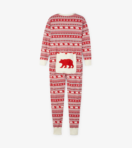 Hatley Little Blue House Fair Isle Bear Union Suits - Adults