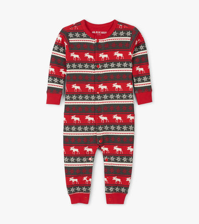 Hatley Little Blue House Fair Isle Moose Kids Union Suit