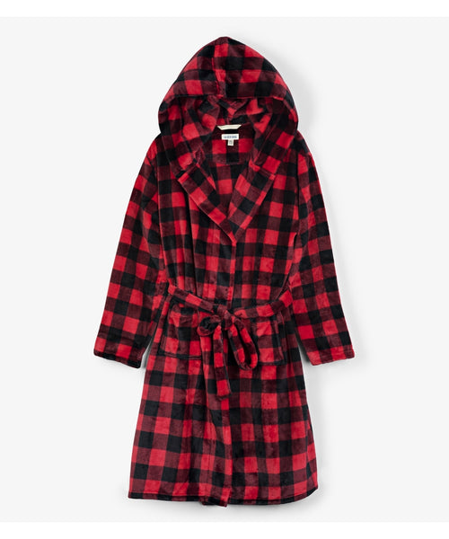 Hatley Little Blue House Buffalo Plaid Fleece Robe - Adult