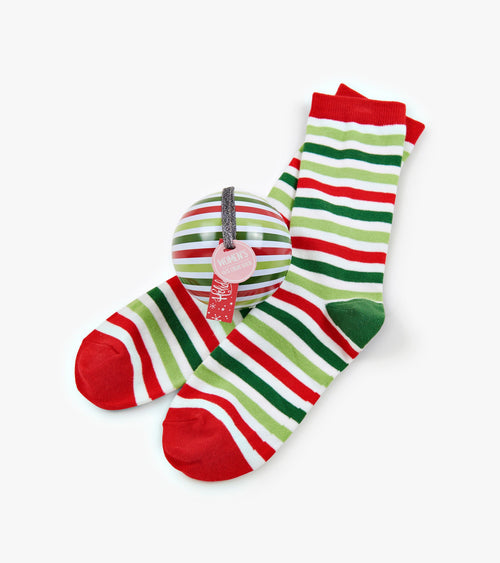 Hatley Christmas Stripe Socks in Balls - Women