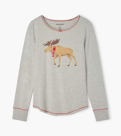 Hatley Little Blue House Moose On Grey  Women's Stretch Jersey Top