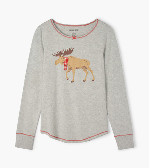 Hatley Little Blue House Moose On Grey Winter Wonderlad Women's Stretch Jersey Top