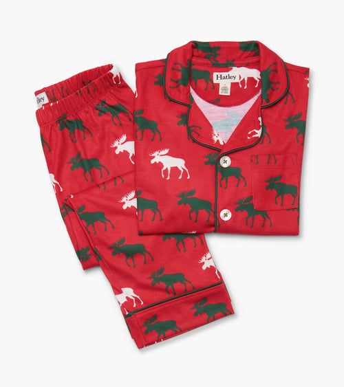 Hatley Holiday Moose Button Down Pyjamas