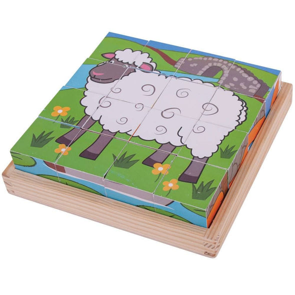 Bigjigs Farm Cube Puzzle - 16 piece