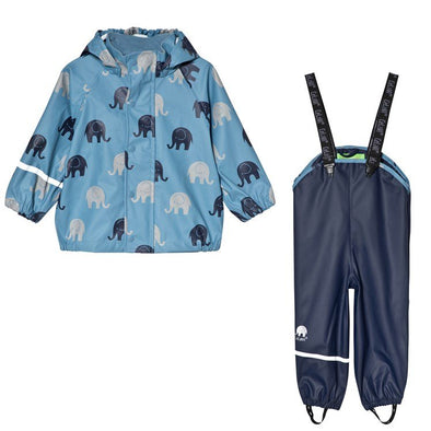 Celavi Elephants Ice Blue Waterproof Rainwear Set