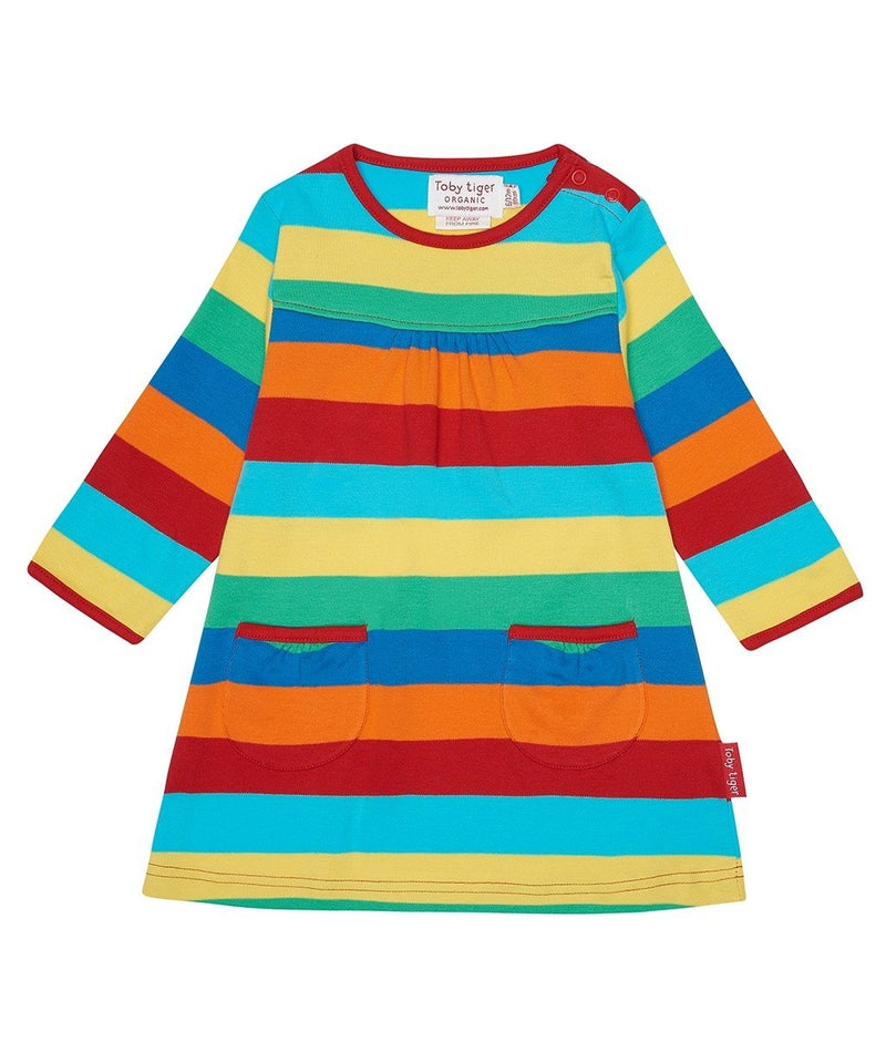 Toby Tiger Multi Stripe Long Sleeved T-shirt Dress