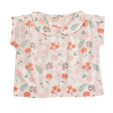 Pigeon Organics Pink Flowers Peter Pan Collar Blouse