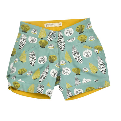 Pigeon Organics Shells on Turquoise Shorts