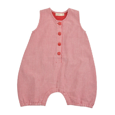 Pigeon Organics Red Stripe Seersucker Baby All-in-One