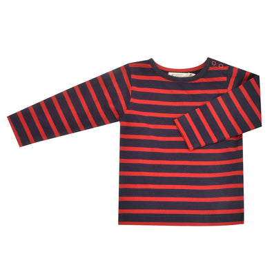 Pigeon Organics Navy / Red Breton Stripe Long Sleeved Top