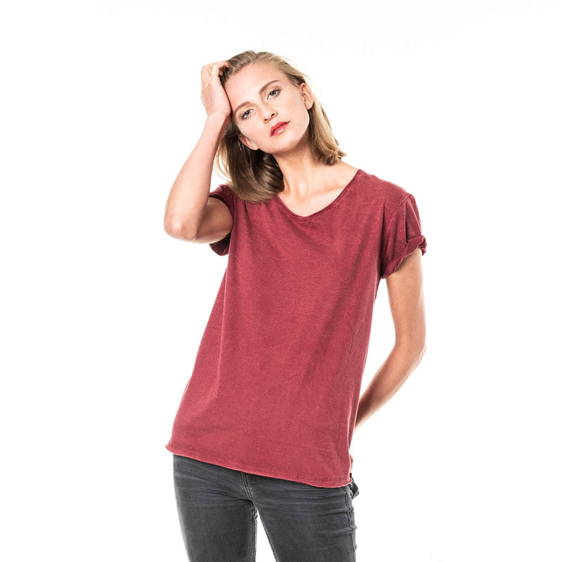 Moshiki Vintage Washed Short Sleeved T-Shirt No. 10 Red Berry