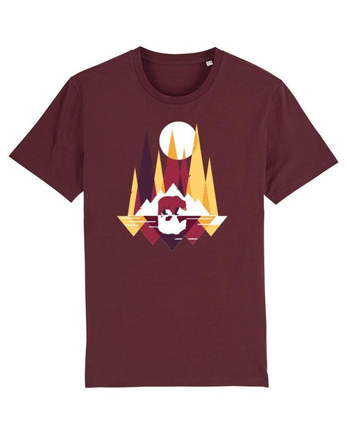 Wat? Apparel Men's Bears and Mountains T-Shirt Burgundy