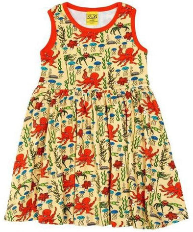 DUNS Yellow Octopus Sleeveless Dress With Gathered Skirt- adult sizes
