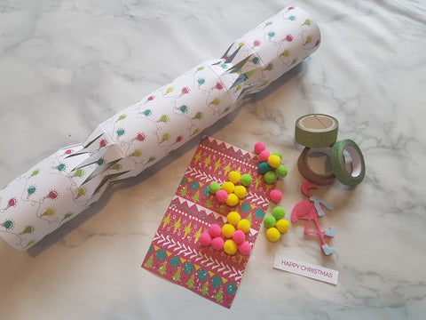 How to make christmas crackers todaywecraft i used a mixture of card toppers and decorations from the hobbycraft pom pa rom pom pom collection solutioingenieria Images