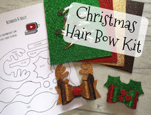 Reindeer & Holly Christmas Hair Bows