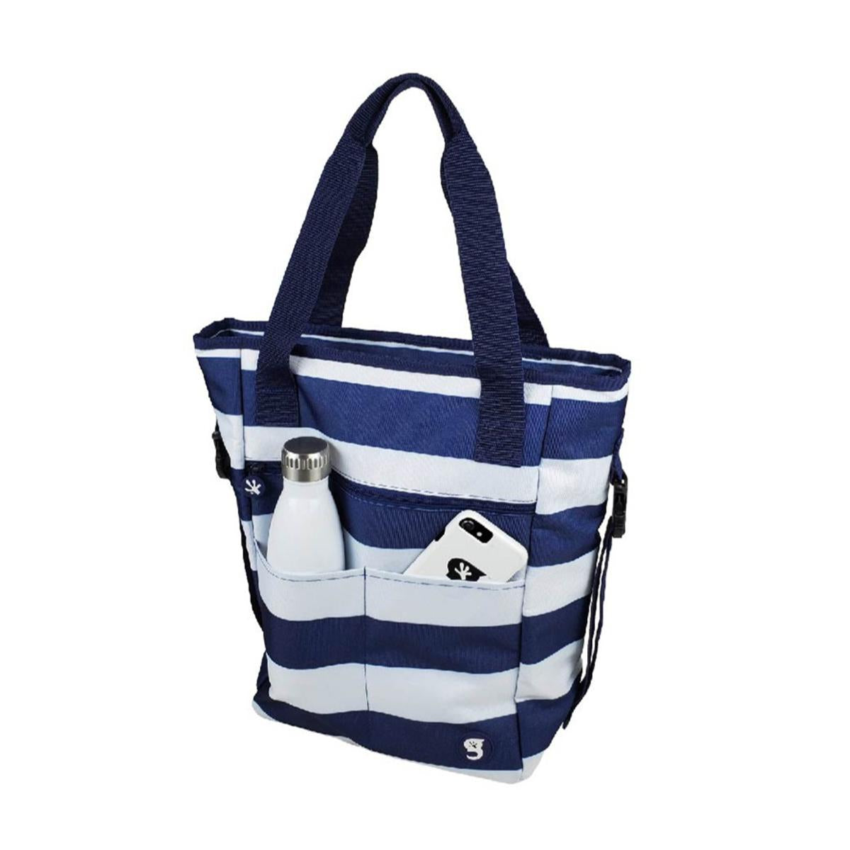 Geckobrands Convertible Tote & Backpack - Blue/White Stripe