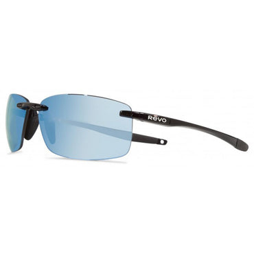 Revo Unisex Descend XL Rectangle Sunglasses Blue Water Lens with Black Frame