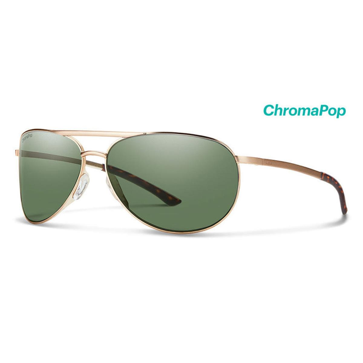 Smith Optics Serpico Slim 2 Sunglasses Chromapop Polarized Gray Green - Matte Gold Frame