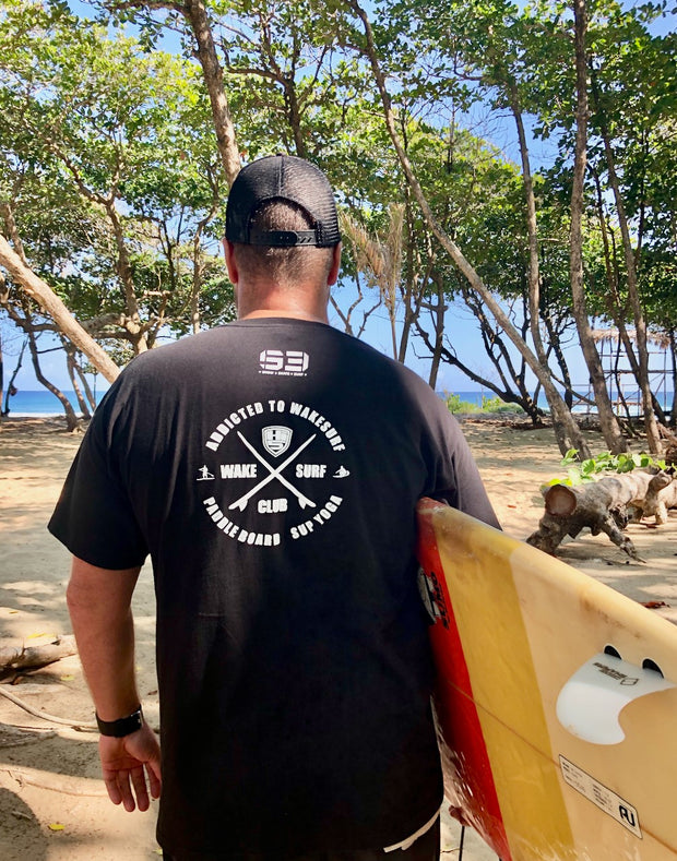 T-SHIRT ALL BLACK - ADDICTED TO WAKESURF