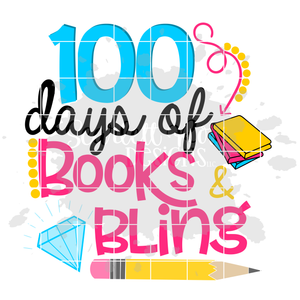 School Svg, 100 Days of Books and Bling, Girl shirt cut file
