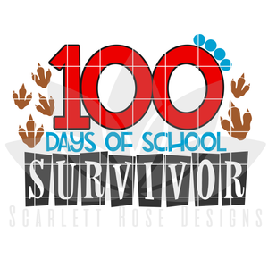 School SVG, 100th Day of School Survivor SVG, DXF 100 days, Dinosaur cut file