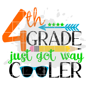 Fourth Grade just got way cooler, Back to School SVG, PNG, EPS CUT FILE