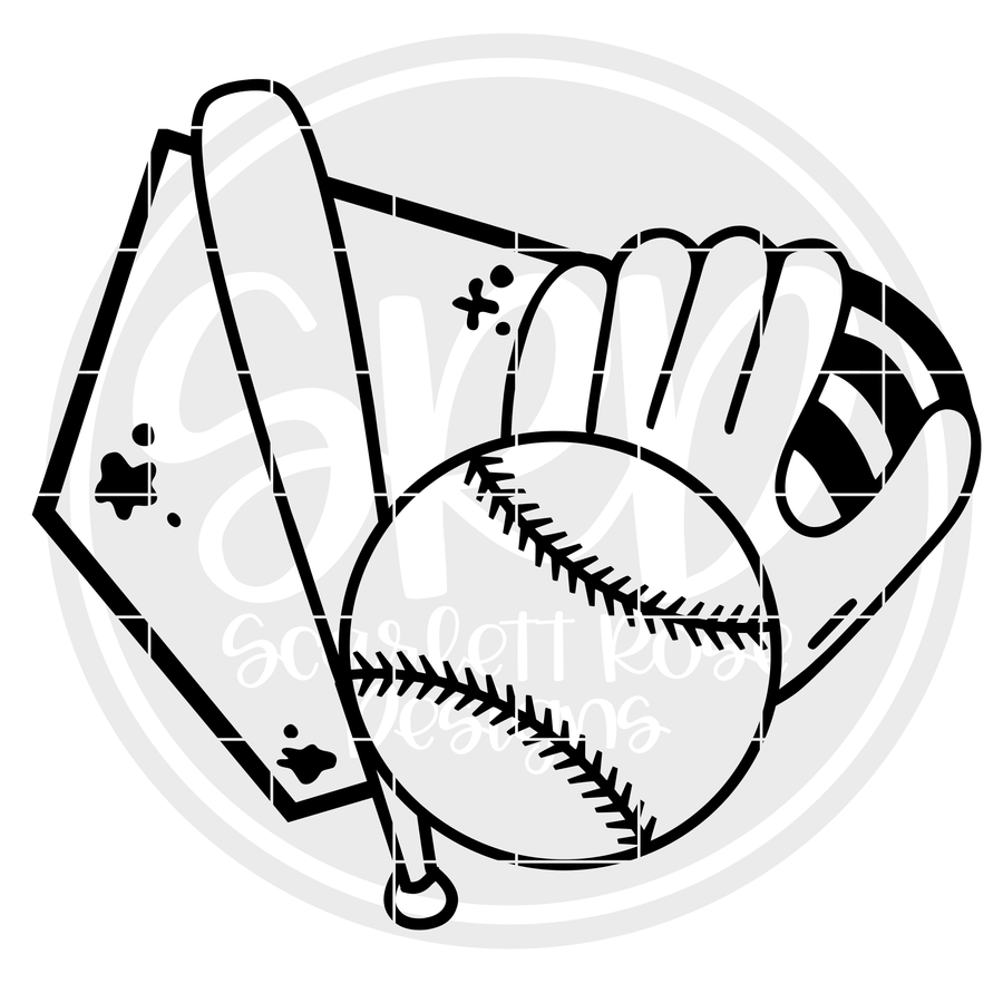 Baseball - Softball Gear SVG - Black