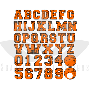 Basketball Font, Letters, Numbers, Monogram SVG cut file, Sports Font SVG, EPS, PNG