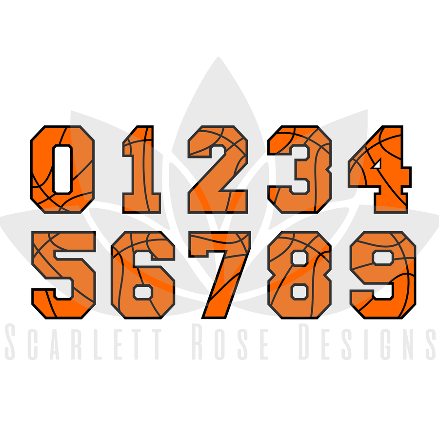 Basketball Pattern Numbers Font SVG cut file, Sports Font SVG, EPS, PNG