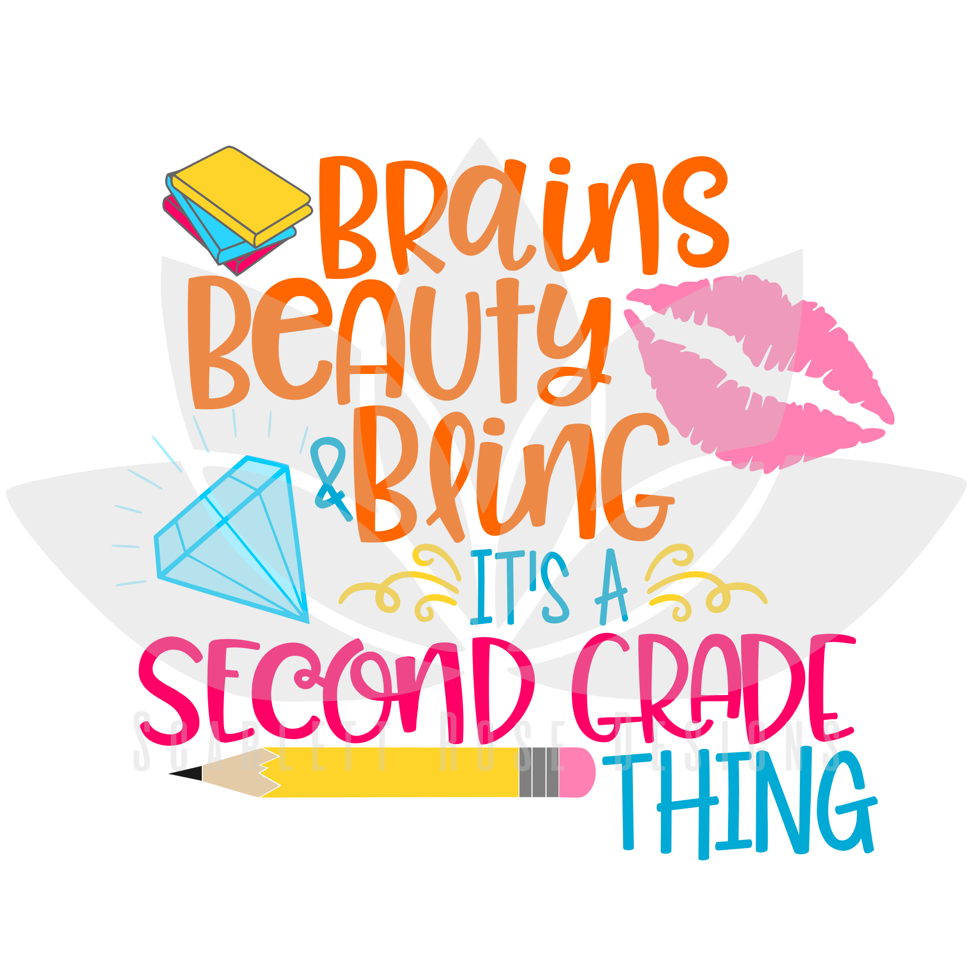 back to school svg cut file  brains beauty and bling it u0026 39 s a second grade thing