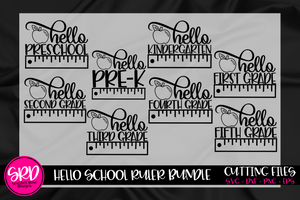 Hello School Ruler SVG Bundle - Black