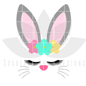 Easter SVG, Bunny Face, Flower Headband, Easter Bunny cut file