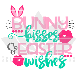 Easter SVG, Bunny Kisses and Easter Wishes cut file