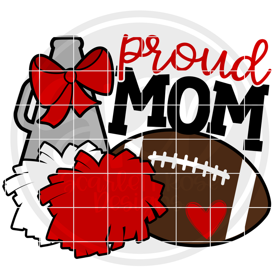 Cheer Football Gear - Proud Mom SVG