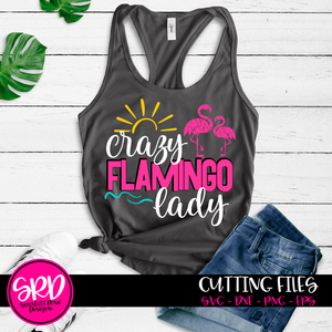Crazy Flamingo Lady - 2 Flamingos - Distressed SVG
